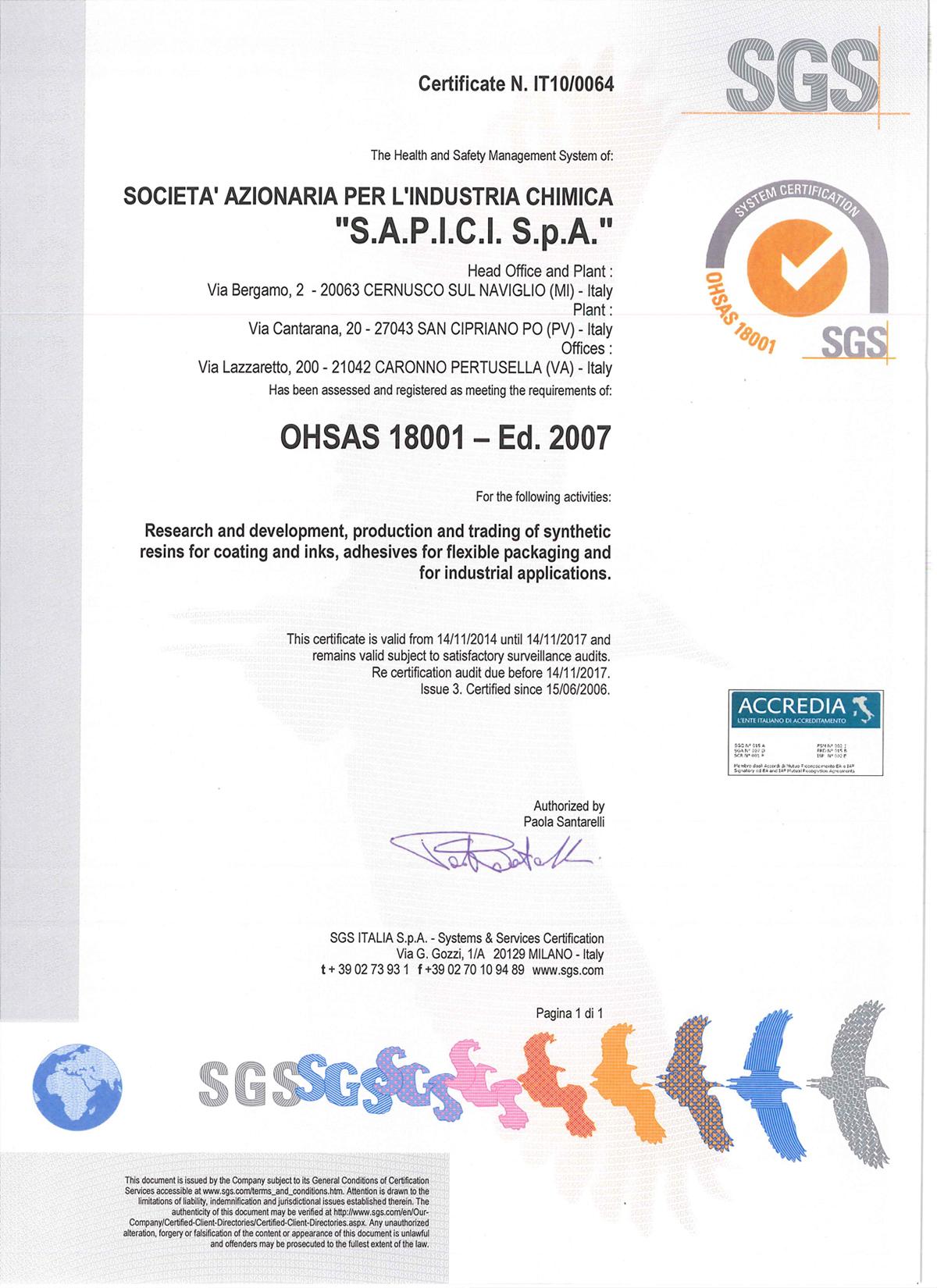 Certificates - SAPICI S.p.A.